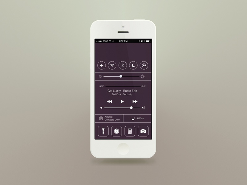 Flat iOS7 - Control Center ios7 flat flat ui apple photoshop iconography free psd download free download ios 7