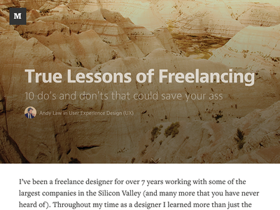 True Lessons of Freelancing article medium design freelancing freelance list publication