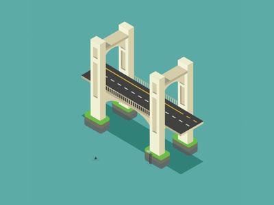 Bridge - Isometric isometric bridge illustration ai illustrator architecture water shark