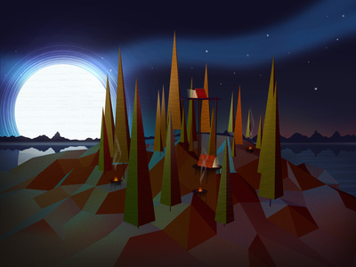 Tree Line Final low poly camping color illustration c4d psd outdoors moon trees mountains