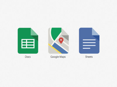 Google iOS icons - Docs, Maps & Sheets icons flat flat design google maps sheets docs illustration