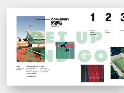 Community Sports Center (Fictional) homepage ux layout website ui