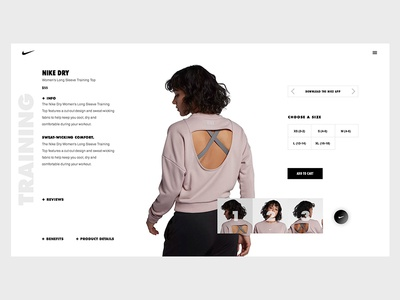 Nike Product Page Concept minimal ux ui fitness . nike