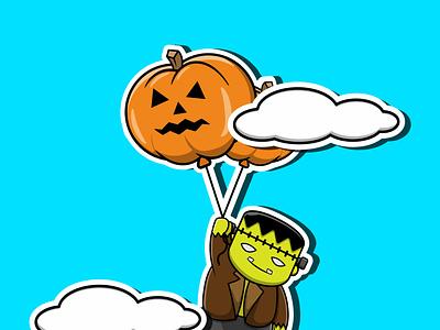 Frankenstein Holding Pumpkins Balloon vector illustration graphic design design app animation 3d logo branding