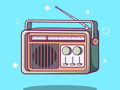 Old Retro Classic Radio Cartoon vector ui illustration graphic design design app animation 3d logo branding