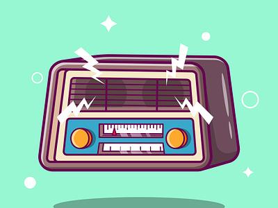 Cute Retro Classic Radio Cartoon vector ui illustration graphic design design app animation 3d logo branding