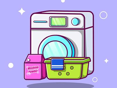 Cute Wash Machine Cartoon vector ui illustration graphic design design app animation 3d logo branding