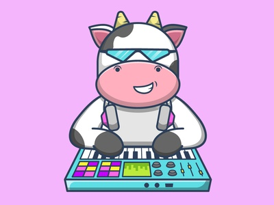 COW CARTOON music cow character cartoon vector illustration graphic design design app animation logo branding