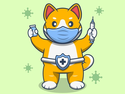 Time To Vaccine mask character shiba animal virus vaccine cartoon vector illustration graphic design design animation logo branding