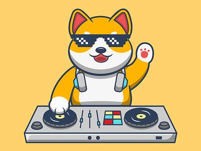 Shiba Inu Cartoon dogecoin disco mascot doggy puppy dog music character cute shiba disk jockey party cartoon vector illustration graphic design design animation logo