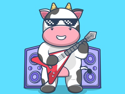 Cute Cow Playing Guitar guitarist concert party sound happy cute musician player music guitar character mascot cartoon cow vector illustration graphic design design animation logo