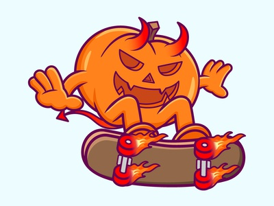 Devil Pumpkin pumpkin cartoon character branding vector illustration graphic design design animation logo
