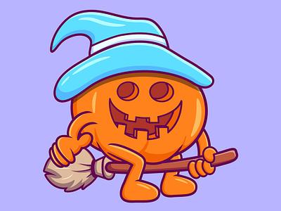Witch Pumpkin halloween pumpkin cartoon character branding vector illustration graphic design design animation logo