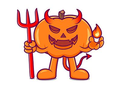 Halloween Devil character cartoon devil pumpkin halloween branding vector illustration graphic design design animation logo