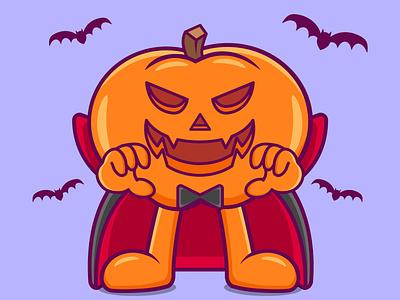 Halloween Vampire bat dracula costume vampire character cartoon pumpkin halloween branding vector illustration graphic design design animation logo