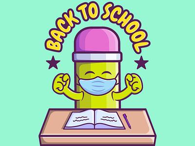 BACK TO SCHOOL cartoon typography branding vector illustration graphic design design animation logo