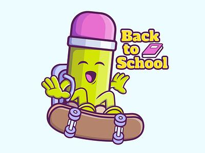 BACK TO SCHOOL PENCIL CARTOON typography branding vector illustration graphic design design animation logo
