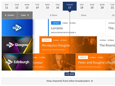TV Guide stv player source sans pro symbolset orange grey blue stv live grid tiles opacity luminosity