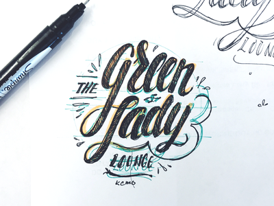Green Lady logo green process kcmo green lady script tmoneydesign typography type hand lettering lettering