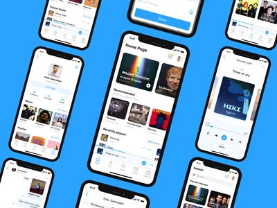BLUEBIRD - Social network for audiophiles messenger iphone web network blue concept ios music social figma app ux ui design mobile