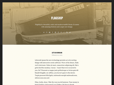 Flagship tumblr theme vintage serif blog