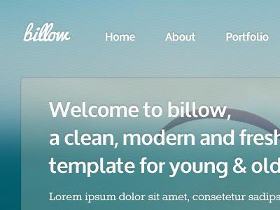 Billow website blue blur bright design html template typo clean theme