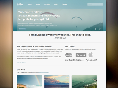Billow, le css theme clean typo template html design bright blur blue website