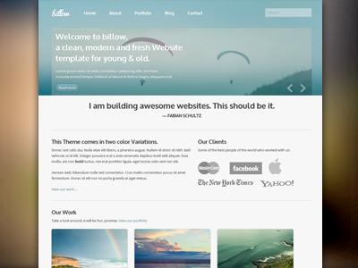 Billow, le css theme clean typo template html design bright blur blue website