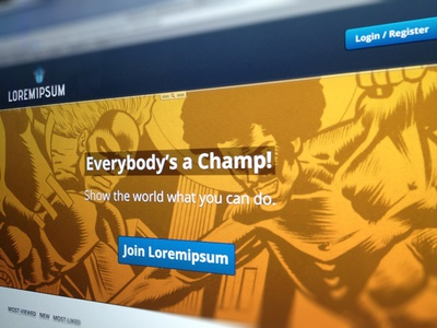 Everybody's a Champ! web blur hero header website web site design ui typo open sans logo button call to action comic