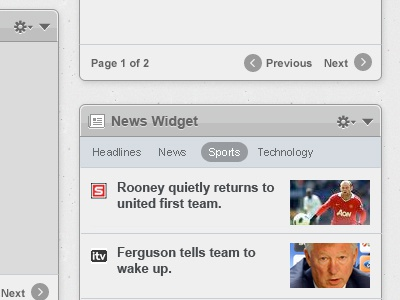 Widgets Example 2 widget pane news