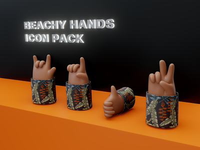 Beachy Hand 3D Icon Pack icon vector beach hands icons photoshop webflow figma blender design 3d