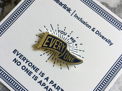 Everyone Pin and Letter-pressed Card-back