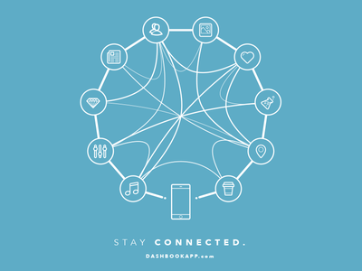 Stay Connected. t-shirt illustration icons poster