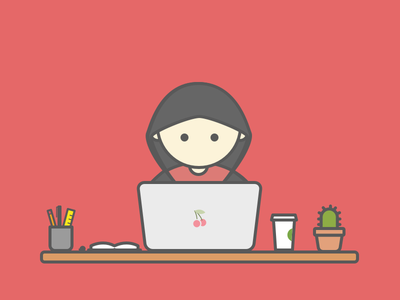 Little guy hacker designer working hoodie illustration
