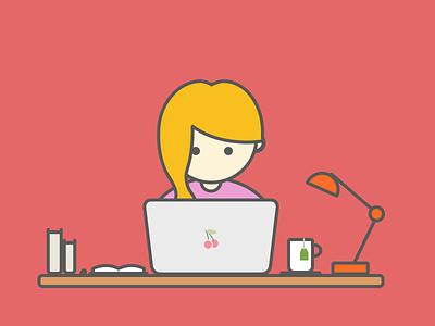 Little Girl hacker designer working girl illustration