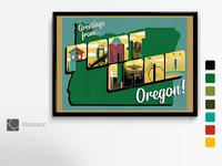 Portland, OR Vintage Postcard Poster