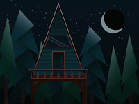 A-Frame Cabin at Night