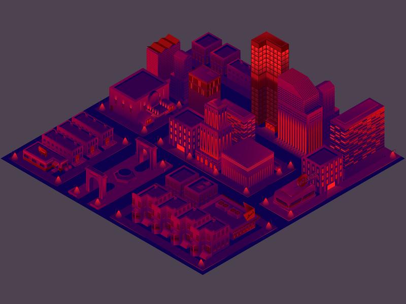 Isometric City isometric artwork illustrator illustration