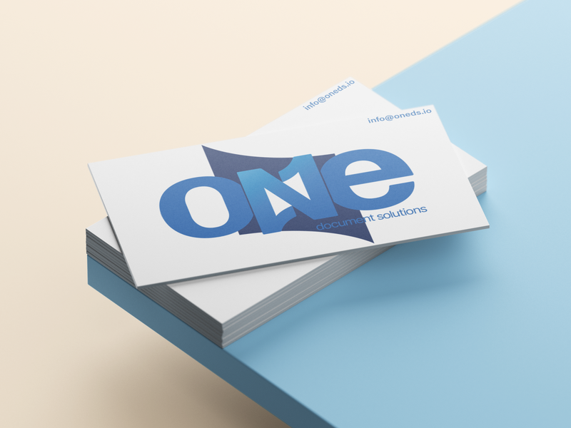 One Document Solutions Logo branding design branding documents security commerce identity design mockup business card logo