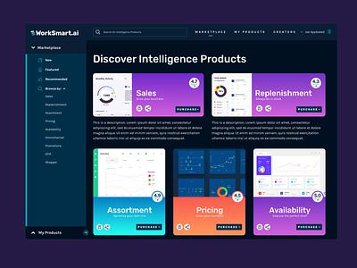 Intelligence products marketplace crema logo brand development invisionstudio dark ui ui design
