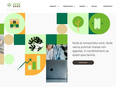 Marketing site hero freelance design illustrations brown green icons design ui hero marketing