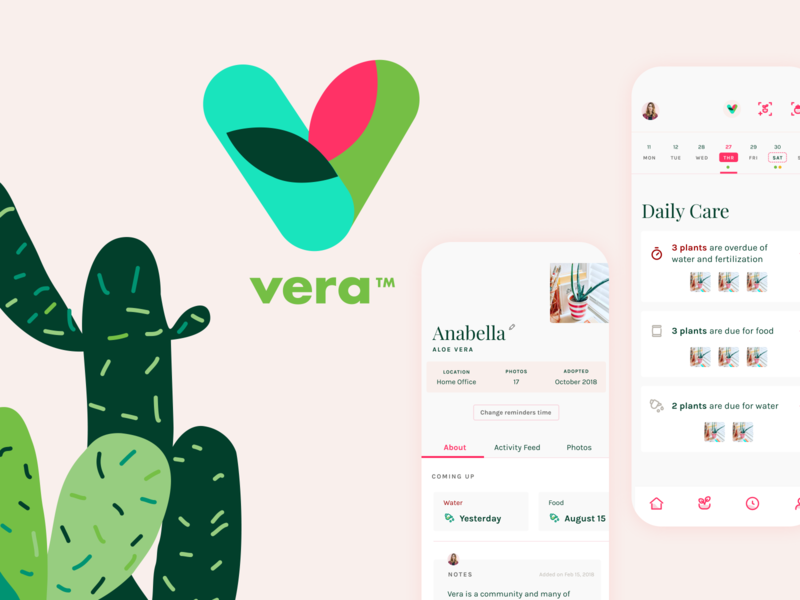 Vera: Plant care management app profile page home ios app ios ui ux plants mobile app design mobile app pink ui uidesign plant app