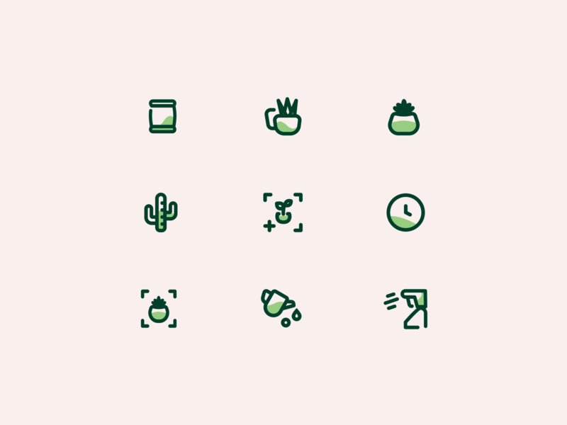 Vera: Plant care app iconography succulent plant app watering activities cactus plants green icons iconography icon set branding uidesign icons ui