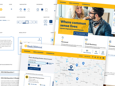 Bank Midwest Stuff map design styleguide banking website