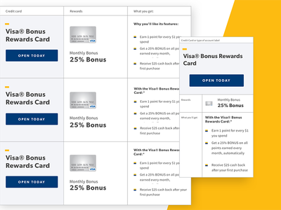 Responsive Tables for Bank Midwest ui comparison credit cards banking checking responsive tables