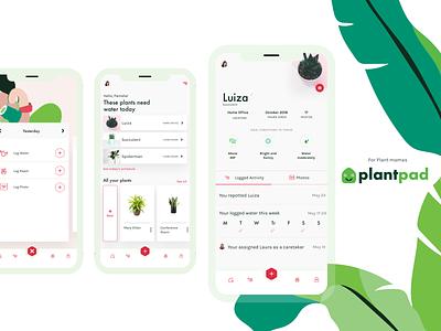Plantpad, plant care app fab button tabbed profile mobile design crema green ios mobile ui plants