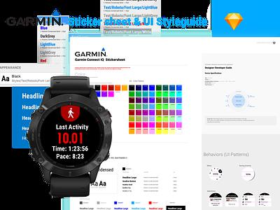 Garmin Watch Sticker Sheet color palette style guide uidesign app styleguide watch ui garmin