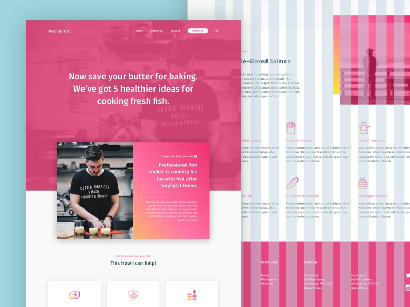 Pink Chibi Fish Website grid website web pink