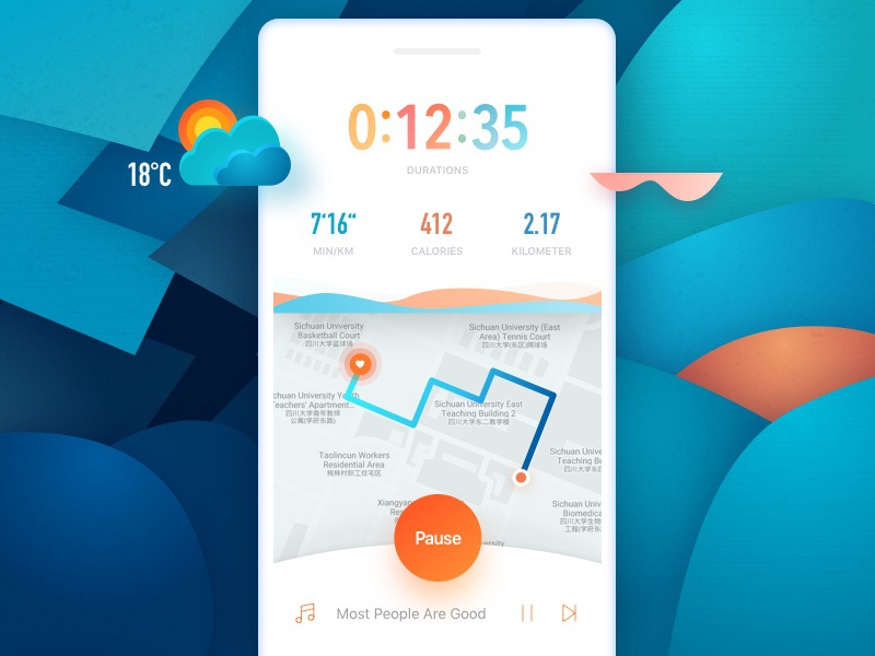 Running App colorful weather ui app run