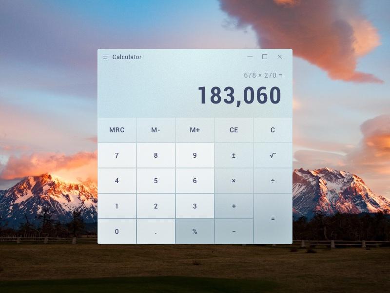 04 Calculator desktop calculator acrylic fluent